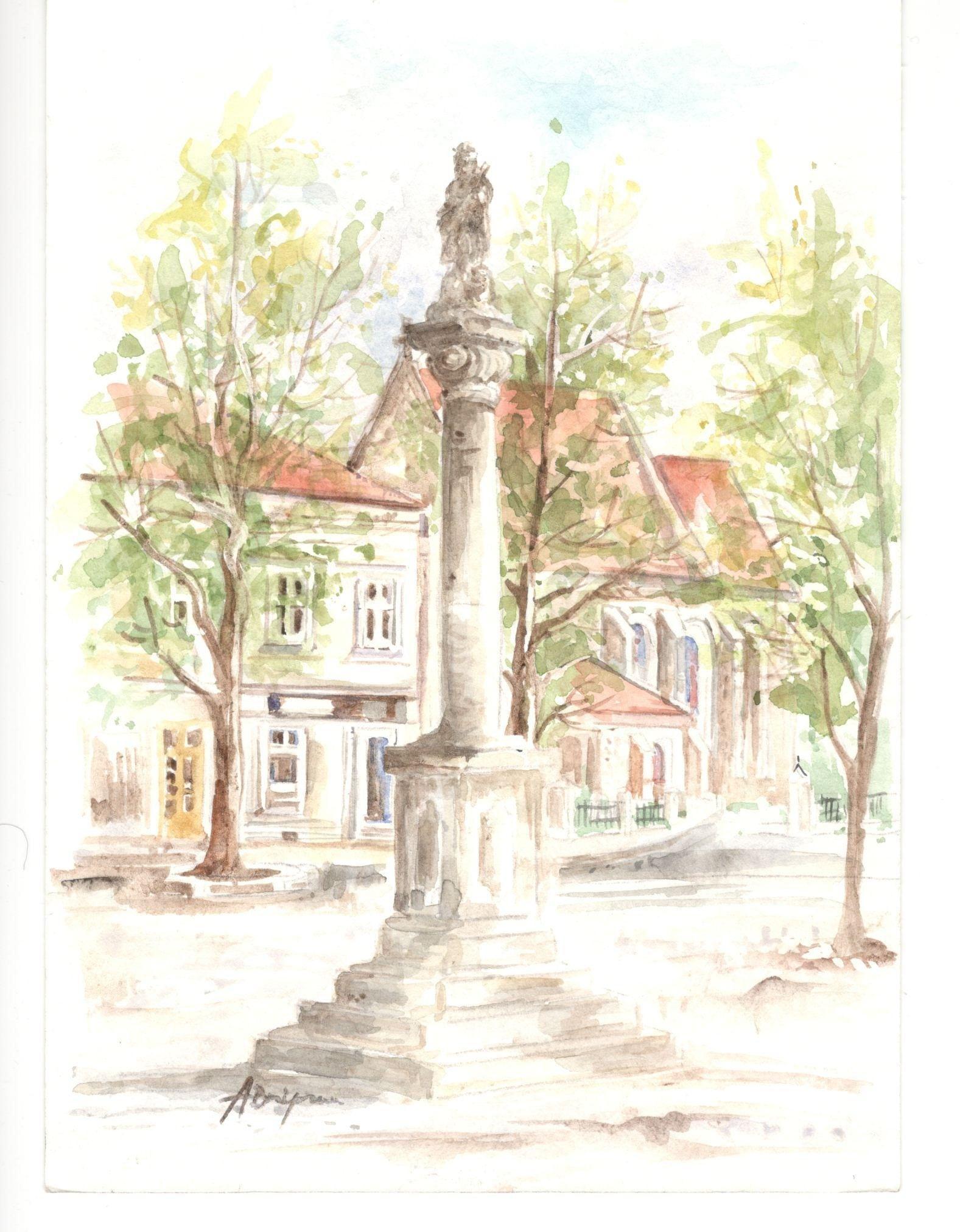 17 - Anna Brożyna, Figura św. Jana Nepomucena, akwarela