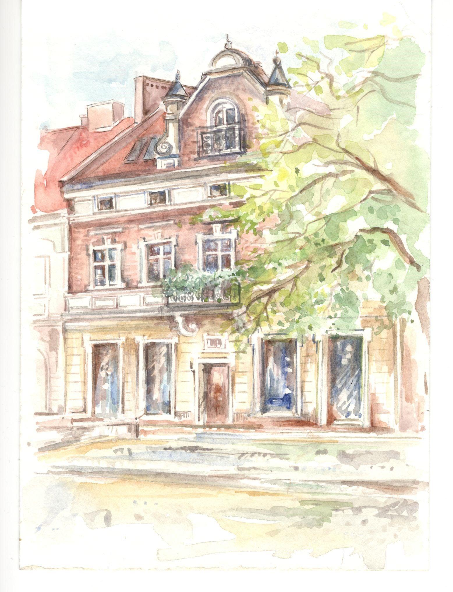 18 - Anna Brożyna, Kamieniczka przy Rynku, akwarela