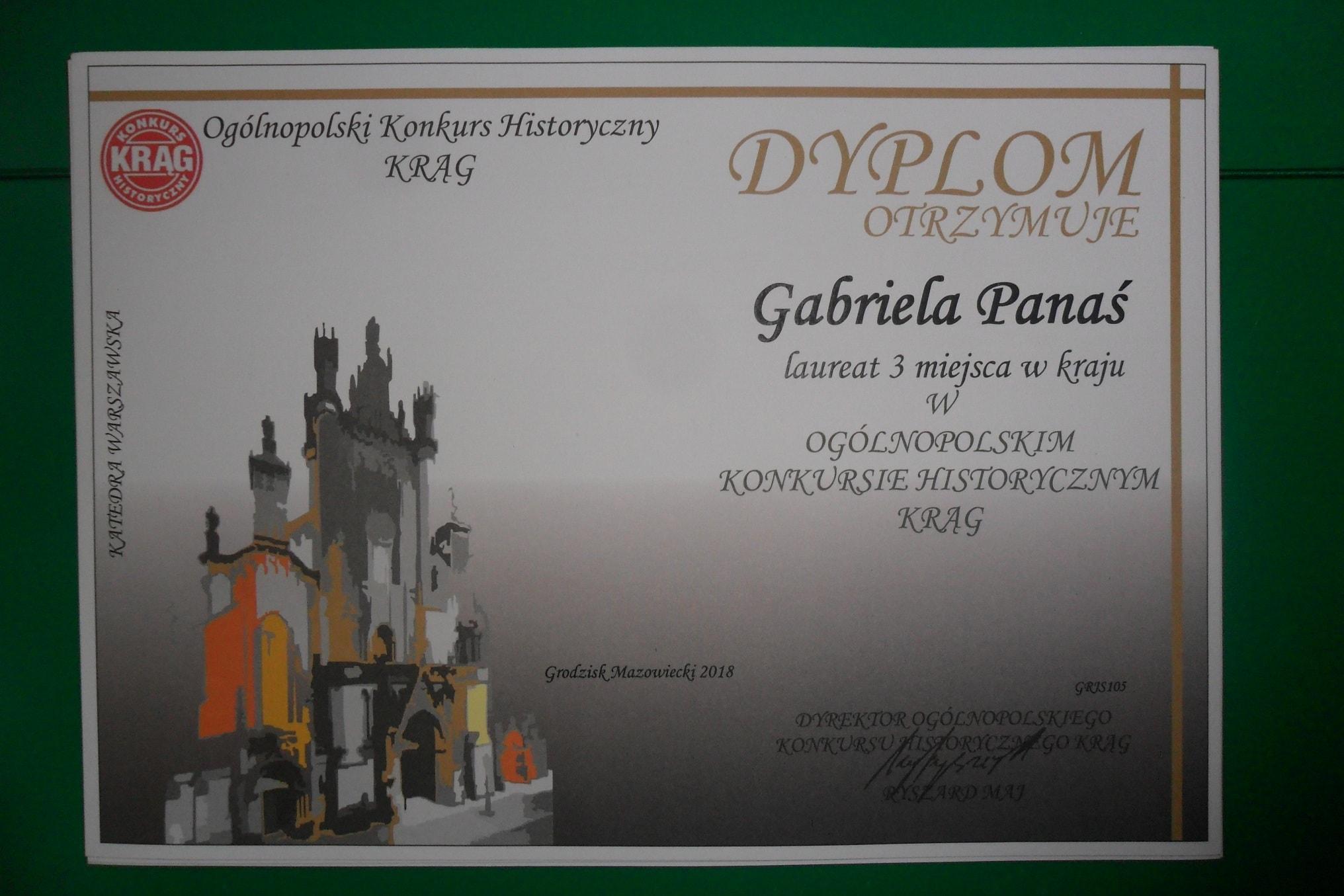 Gabriela Panaś - dyplom