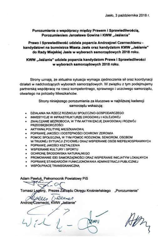 """porozumienia o współpracy między Prawem i Sprawiedliwością, Porozumieniem Jarosława Gowina i KWW """"Jaślanie"""""""