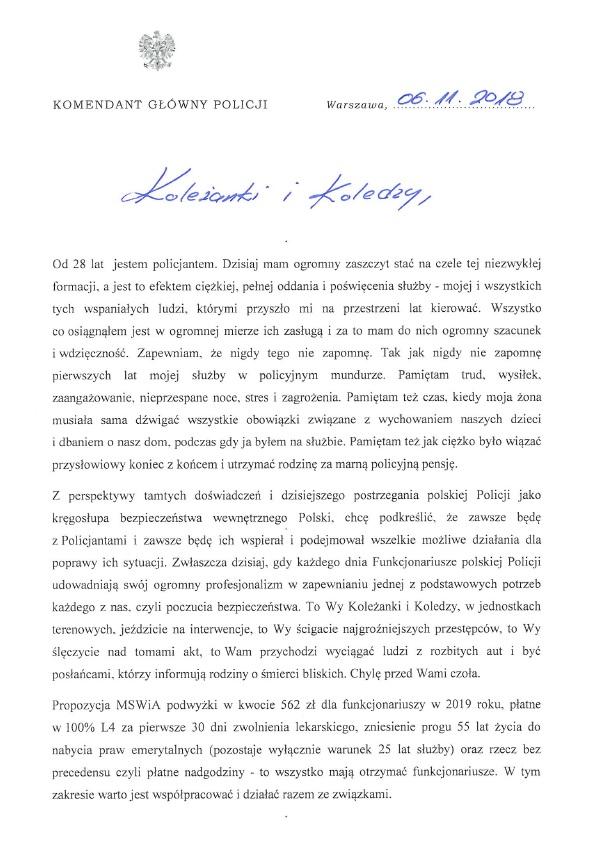 List Komendanta Głównego Policji do Policjantek i Policjantów