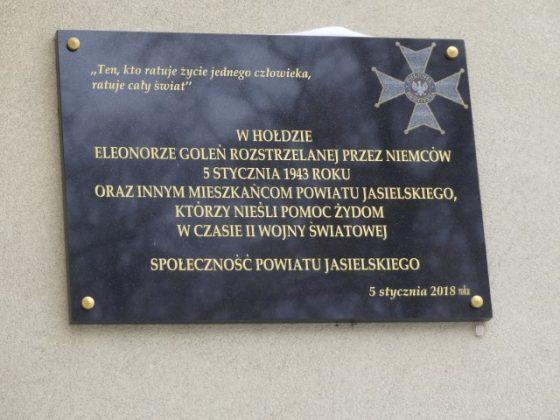 Tablica upamiętniająca postać Eleonory Goleń - Moje Jasło