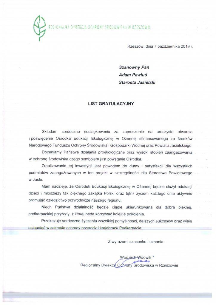 List Wojciecha Wdowika - Dyrektora RDOŚ w Rzeszowie