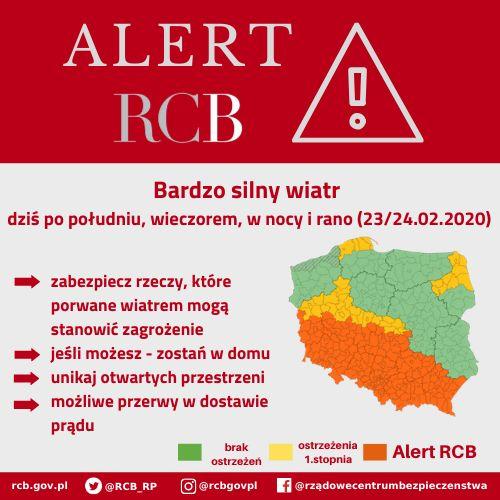 Alert RCB - bardzo silny wiatr