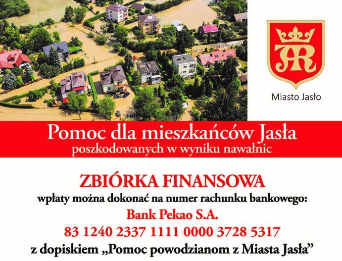 """Trwa zbiórka """"Pomoc powodzianom z Miasta Jasła"""""""