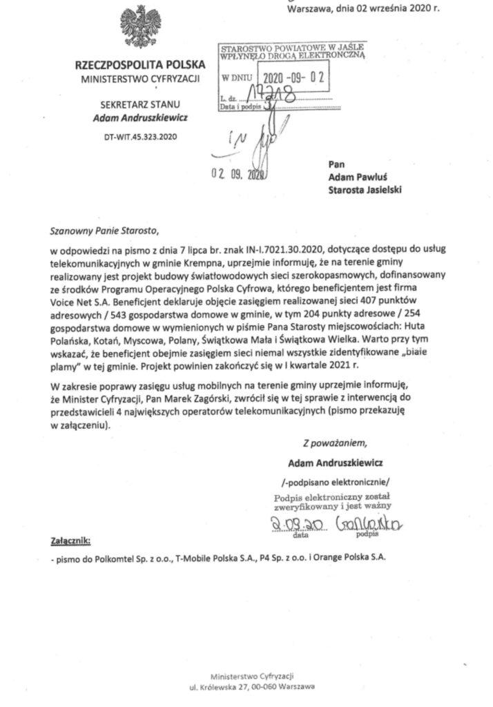 Internet szerokopasmowy w powiecie jasielskim - pismo do Ministra Cyfryzacji