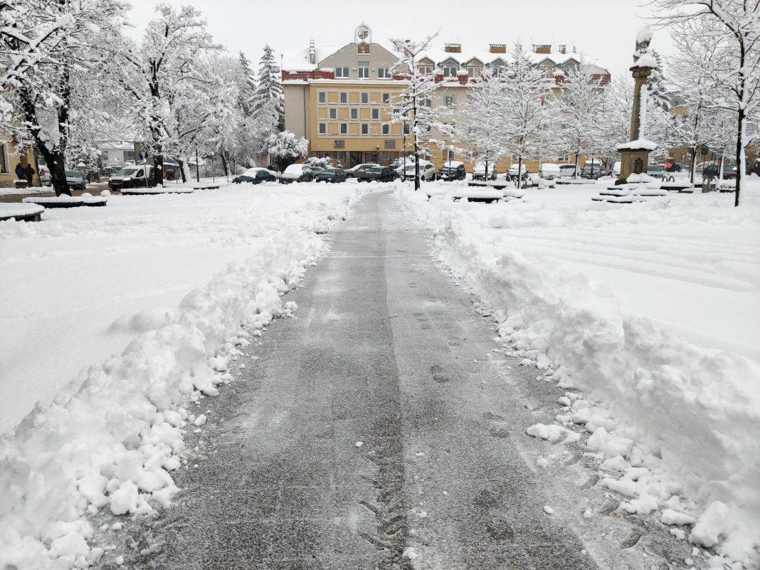Urząd Miasta w Jaśle zimą