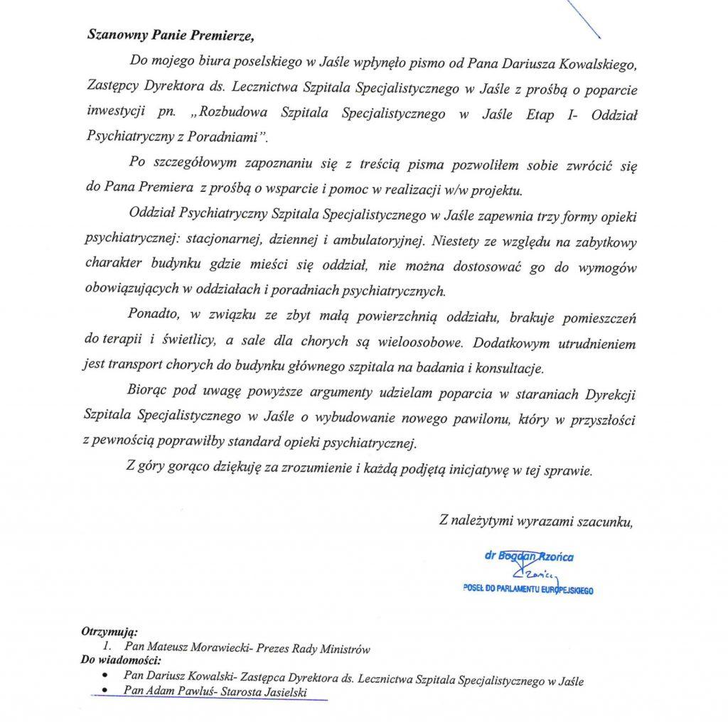 Pismo Posła do Parlamentu Europejskiego Bogdana Rzońcy