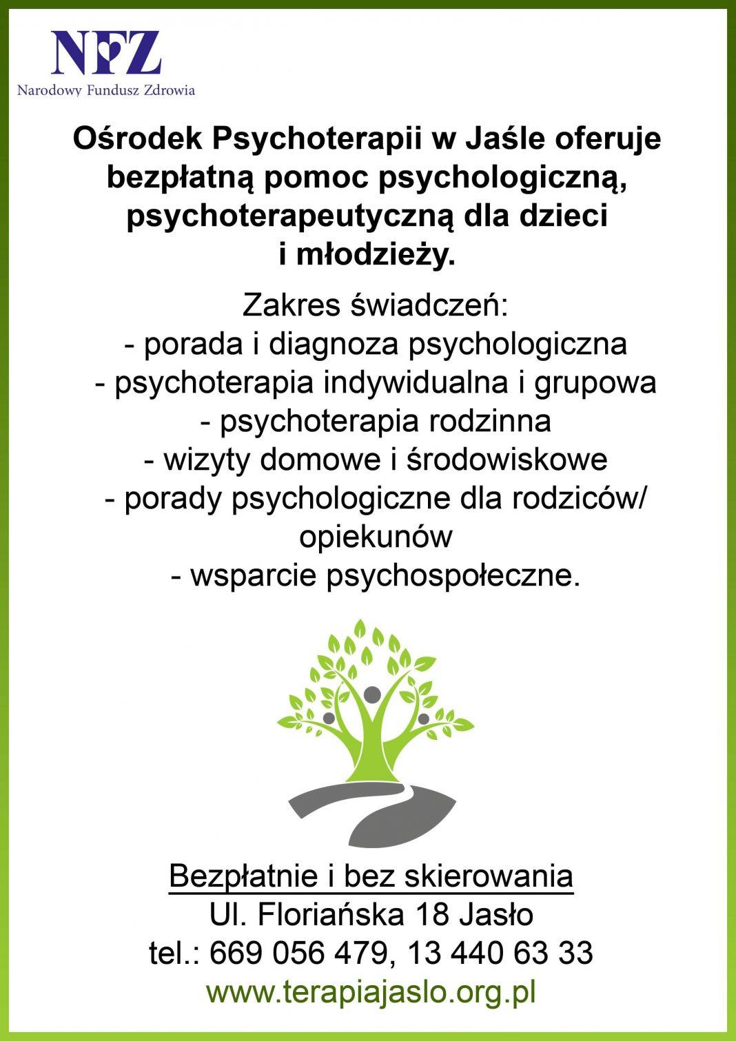 Bezpłatna pomoc psychologiczna, psychoterapeutyczna dla dzieci i młodzieży