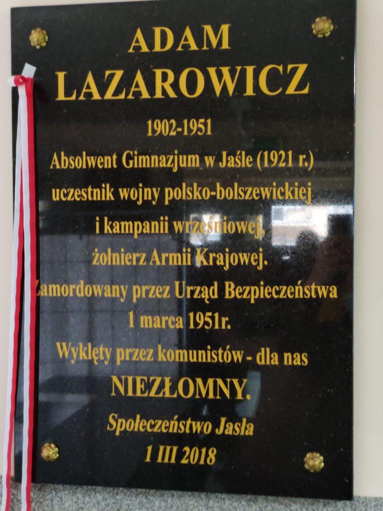 Tablica Adama Lazarowicza - I LO w Jaśle
