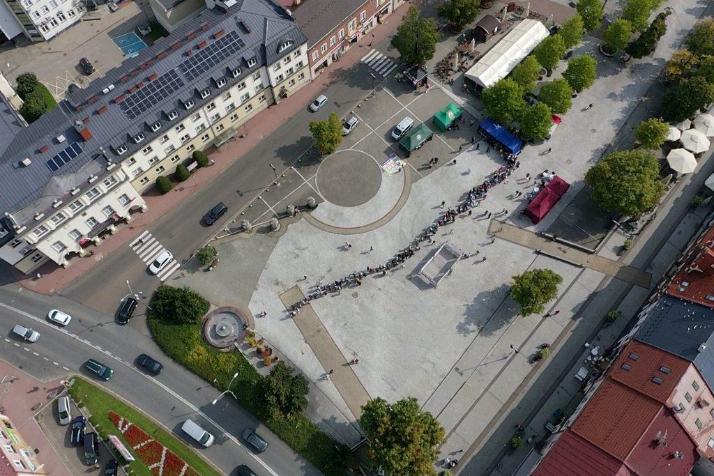 Rynek Jasło z lotu ptaka - zdjęcie z drona