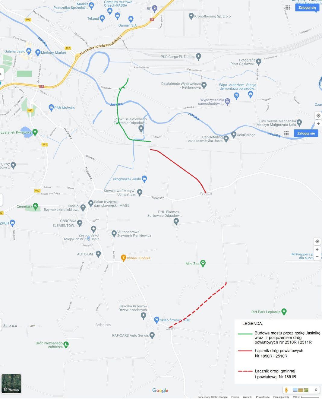Powiat Jasło. Mapa przebiegu nowego odcinka drogi powiatowej